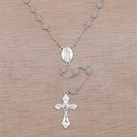 Moonstone rosary, 'Blessed Mary' - Handmade Moonstone and Sterling Silver Rosary Y-Necklace