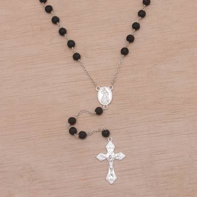 Lava stone rosary, 'Blessed Mary' - Handmade Lava Stone and Sterling Silver Rosary Y-Necklace