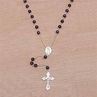 Amethyst rosary, 'Blessed Mary' - Handmade Amethyst and Sterling Silver Rosary Y-Necklace
