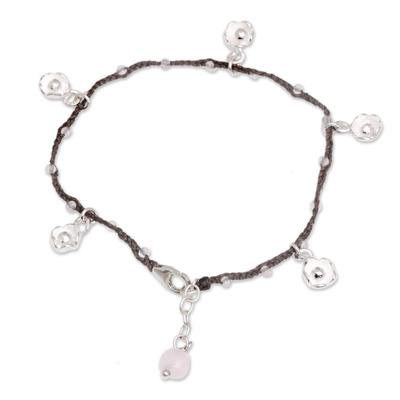Rose quartz cord charm bracelet, 'Alluring Lotus in Brown' - Handmade 925 Sterling Silver Brown Floral Charm Bracelet