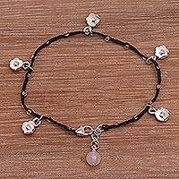 Rose quartz cord charm bracelet, 'Alluring Lotus in Black' - Handmade 925 Sterling Silver Black Floral Charm Bracelet