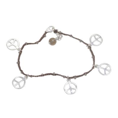 Smoky quartz braided charm bracelet, 'Time for Peace' - Handmade Smoky Quartz 925 Sterling Silver Charm Bracelet