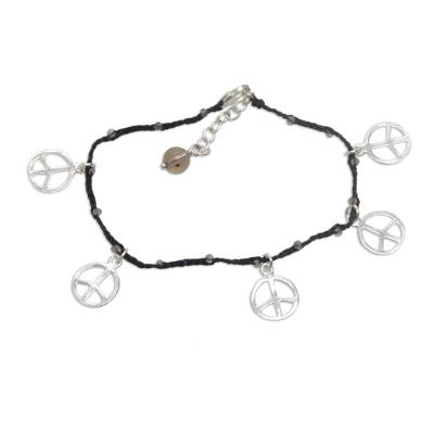 Smoky quartz braided cord charm bracelet, 'Midnight Time for Peace' - Handmade Smoky Quartz Sterling Silver Black Cord Bracelet
