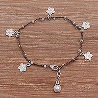 Cultured pearl cord charm bracelet, 'Cheerful Blooms in Brown' - Hand-Braided Brown Cord Sterling Silver Charm Bracelet