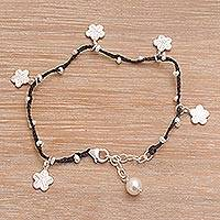 Cultured pearlcharm bracelet, 'Radiant Blooms' - Hand-Braided Black Cord Sterling Silver Charm Bracelet