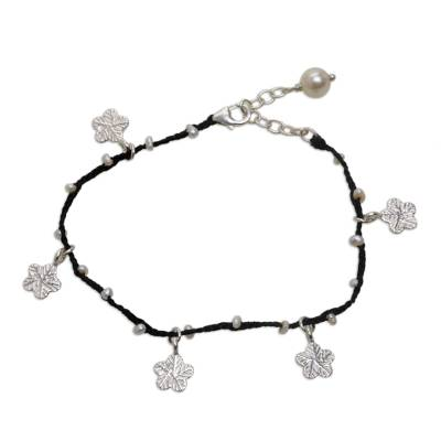 Cultured pearlcharm bracelet, 'Radiant Blooms' - Hand-Braided Black Cord Sterling Silver Charm Bracelet