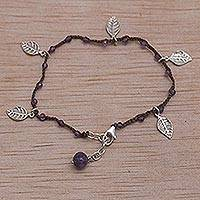 Amethyst cord charm bracelet, 'Dangling Leaves in Brown' - Handmade Amethyst and Leaf Charm Brown Cord Bracelet