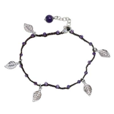 Amethyst cord charm bracelet, 'Dangling Leaves in Brown' - Handmade Amethyst and Leaf Charm Brown Cord Bracelet