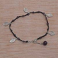 Amethyst cord charm bracelet, 'Dangling Leaves in Black' - Handmade Amethyst and Leaf Charm Black Cord Bracelet