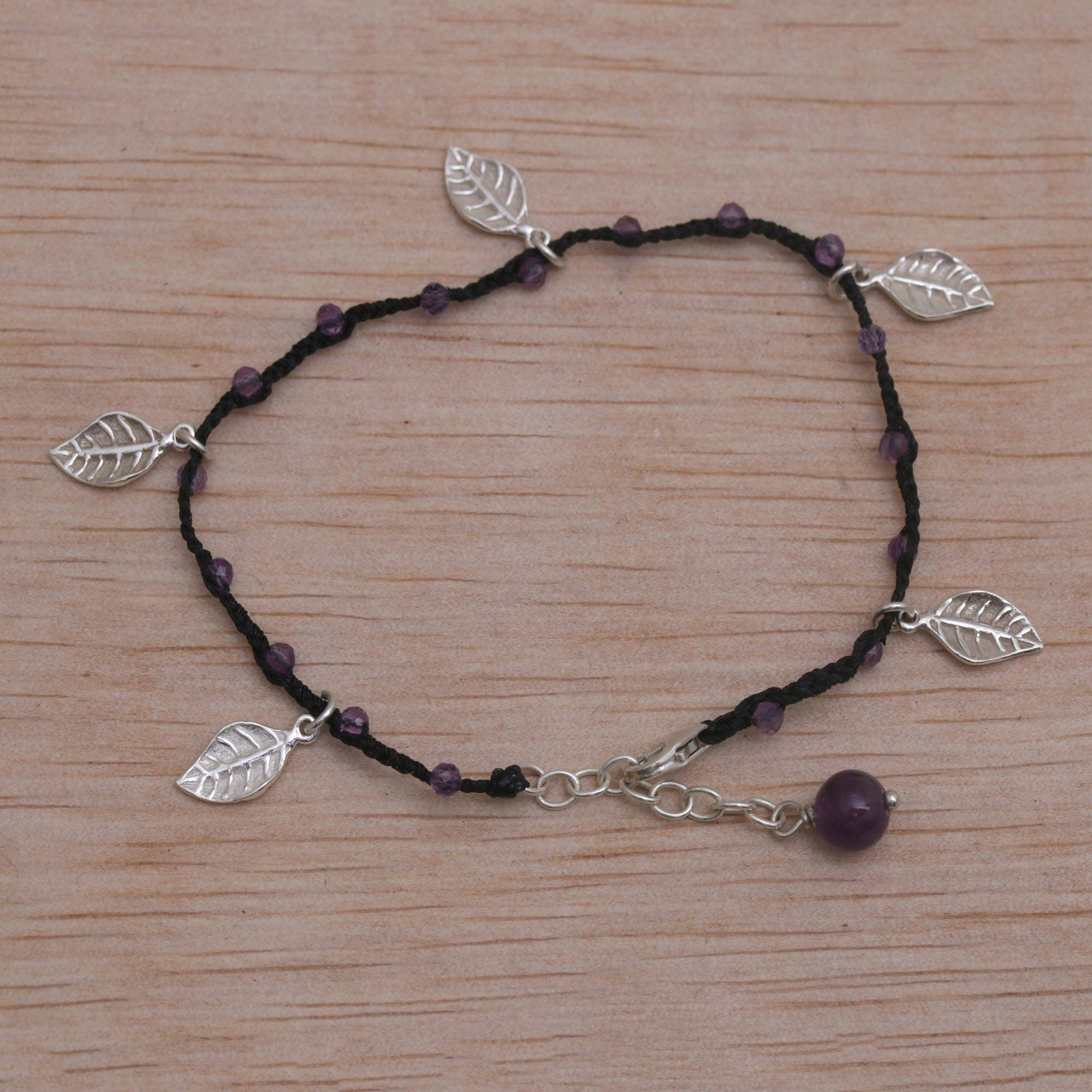 Amethyst Crystal Gemstone Heart Pendant Black Cord Necklace Jewellery 1.5cm