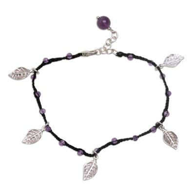 Amethyst cord charm bracelet, 'Dangling Leaves in Black' - Handmade Amethyst and Leaf Charm Black Cord Bracelet