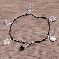 Onyx cord charm bracelet, 'Deep Love in Brown' - Heart Shaped Onyx and Brown Silver Cord Charm Bracelet