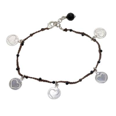 Heart Shaped Onyx and Brown Silver Cord Charm Bracelet