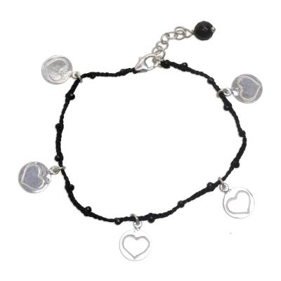 Onyx cord charm bracelet, 'Deep Love in Black' - Handmade Onyx Black Cord Heart Shaped Charm Bracelet