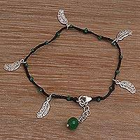 Green quartz cord charm bracelet, 'Verdant Forest' - Crafted 925 Sterling Silver Green Quartz Leaf Charm Bracelet
