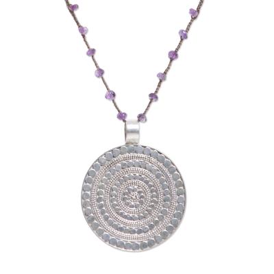 Amethyst pendant necklace, 'Shining Shield' - Handmade 925 Sterling Silver Amethyst Cord Pendant Necklace
