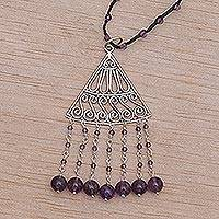 Amethyst pendant necklace, 'Rise and Fall in Black' - Amethyst and Black Cord Pendant Necklace Handmade in Bali