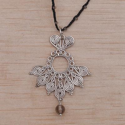 Balinese smoky quartz and black cord pendant necklace serenity smoky quartz pendant necklace serenity swirls in black balinese smoky quartz and aloadofball Choice Image