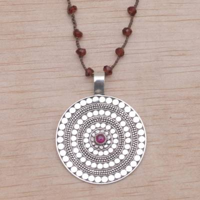 Garnet and rhodolite pendant cord necklace, Shining Shield