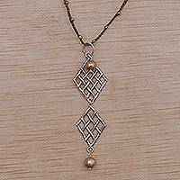 Cultured pearl and pyrite pendant necklace, 'Twin Ketupat in Brown'
