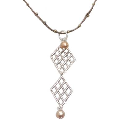 Cultured pearl and pyrite pendant necklace, 'Twin Ketupat in Brown' - Cultured Pearl Pyrite and Sterling Silver Pendant Necklace