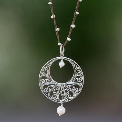 Novica Quartz and cultured pearl pendant necklace, Inspiring Love