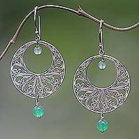 Green quartz dangle earrings, 'Ballroom Dance'