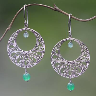 Green quartz dangle earrings, 'Ballroom Dance' - Handmade 925 Sterling Silver Green Quartz Dangle Earrings