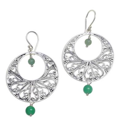 Green quartz dangle earrings, 'Ballroom Dance' - Handmade 925 Sterling Silver Green Quartz Dangle Earrings