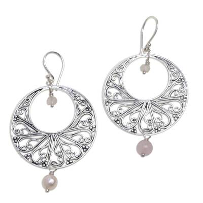 Rose quartz dangle earrings, 'Ballroom Dance' - Handmade 925 Sterling Silver Rose Quartz Dangle Earrings