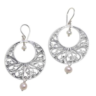 Cultured pearl dangle earrings, 'Ballroom Dance' - Handmade 925 Silver Cultured Pearl Balinese Dangle Earrings
