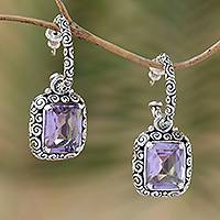 Amethyst half-hoop earrings, 'Enthralling Swirls' - Hand Crafted Amethyst and Sterling Silver Half Hoop Earrings