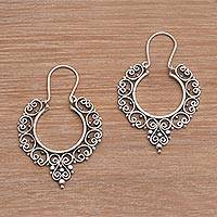Sterling silver hoop earrings, 'Fanciful' - Sterling Silver Ornate Hoop Earrings