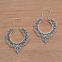 Sterling silver hoop earrings, 'Fanciful'