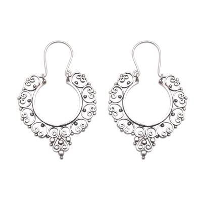 Sterling silver hoop earrings, 'Fanciful' - Sterling Silver Ornate Hoop Earrings