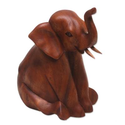 Wood sculpture, 'Elephant Child' - Hand Carved Suar Wood Baby Elephant Sculpture