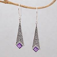 Amethyst dangle earrings, 'Sanguine' - Kite Shaped Amethyst and Sterling Silver Dangle Earrings