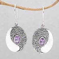 Amethyst dangle earrings, 'Enduring Soul' - Circular Amethyst and Sterling Silver Dangle Earrings