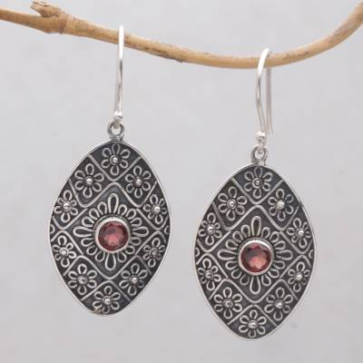 Garnet dangle earrings, 'Shield of Daisies' - Garnet and Sterling Silver Floral Motif Dangle Earrings