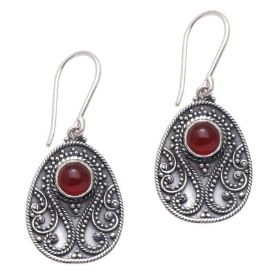 Handmade Carnelian and Sterling Silver Dangle Earrings
