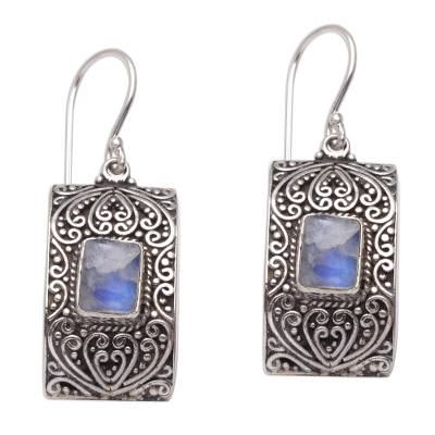 Rectangular Rainbow Moonstone and Sterling Silver Earrings