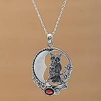 Garnet and bone pendant necklace, 'Owl's Night' - Handmade 925 Sterling Silver Garnet Owl Pendant Necklace