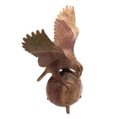 Wood sculpture, 'Global Eagle' - Artisan Handmade Hibiscus Wood Soaring Eagle Sculpture