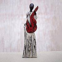 Wood statuette, 'Musical Lady' - Hand Carved Albesia Wood Abstract Woman Statuette from Bali