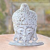 Wood statuette, 'Restful Buddha' - Hand Carved Albesia Wood Buddha Head Statuette from Bali