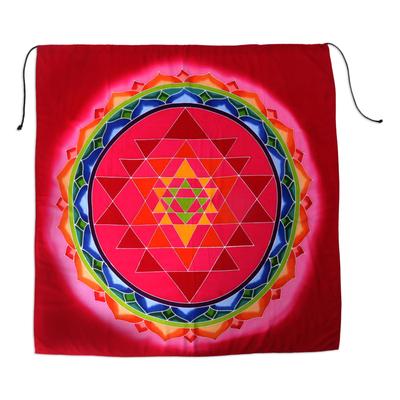 Batik rayon wall hanging, 'Red Petal Parade' - Red Batik Geometric Flower Rayon Banner Wall Hanging