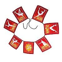 Batik rayon banner, 'Yoga Flags' - Red and Yellow Yoga Pose Rayon Flags Wall Decor Banner