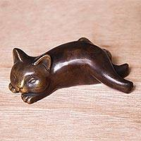 Bronze statuette,  'Let Sleeping Cats Lie' - Handcrafted Balinese Bronze Sleeping Cat Statuette
