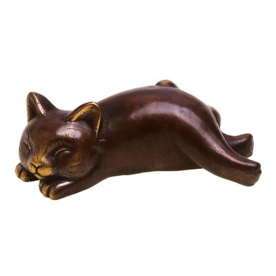 Handcrafted Balinese Bronze Sleeping Cat Statuette