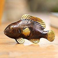 Bronze figurine, 'Antique Clownfish' - Handcrafted Balinese Bronze Clownfish Figurine